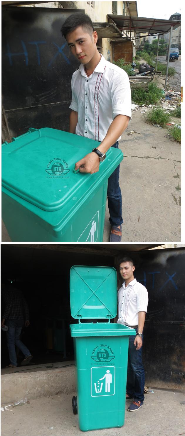 thùng rác nhìn từ trên xuống với tay cầm chắc chắn