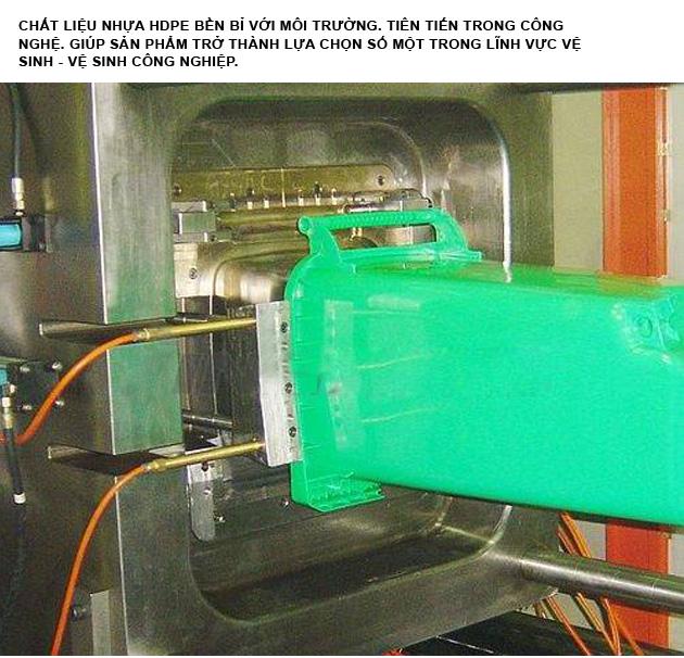 Thùng rác nhựa hdpe 240 lít được sản xuất với dây chuyền hiện đại- thông minh