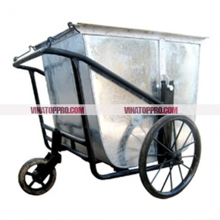 Xe đẩy rác bằng tay 3 bánh cao su đặc