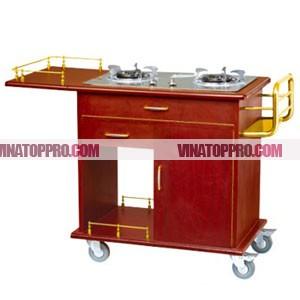 Bàn chế biến thức ăn có bếp ga di động WY-16A