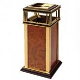 Thùng rác inox mạ vàng thân bọc da giả vân gỗ có gạt tàn A19-A
