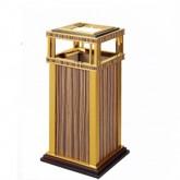Thùng rác inox mạ vàng thân bọc da giả vân gỗ có gạt tàn A19-B