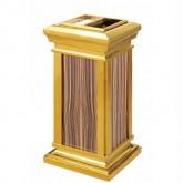 Thùng rác inox mạ vàng thân bọc da giả vân gỗ có gạt tàn A26