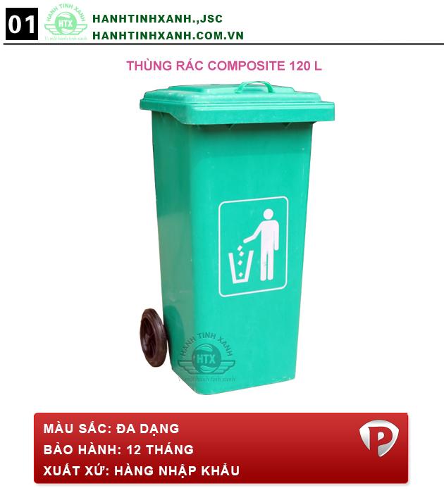 Mẫu sản phẩm thùng rác composite 120 lít mới