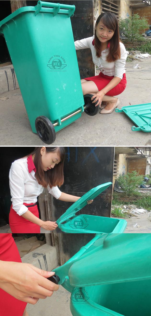 Bánh xe và nắp đóng mở thùng rác là những bộ phần dễ tháo lắp