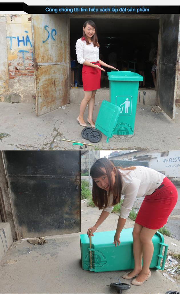 Cách lắp ráp thùng rác composite