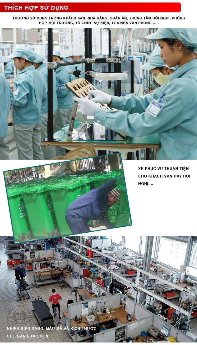 Thùng rác composite 120 lít được sản xuất và lắp ráp trên công nghệ tân tiến