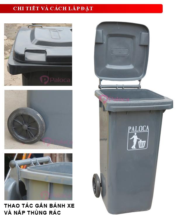 Thùng rác có bánh xe và tay đẩy dễ dàng di chuyển