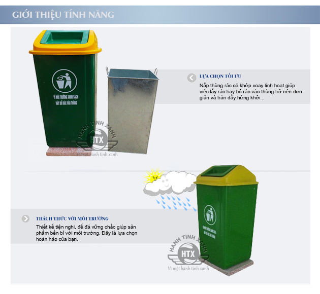 Tính năng ưu việt của thùng rác composite đế đá