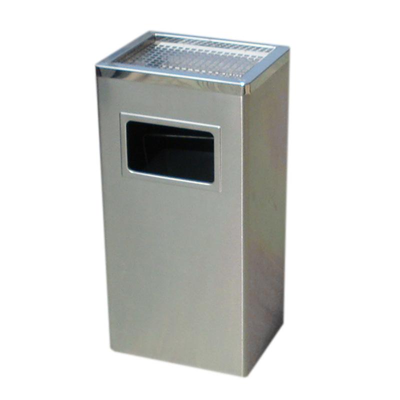 thùng rác inox hinh chữ nhật có gạt tàn