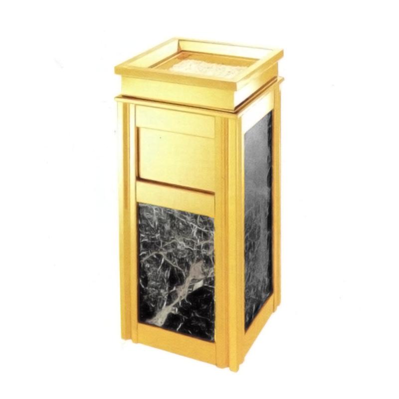 Thùng rác inox mạ vàng đá đen